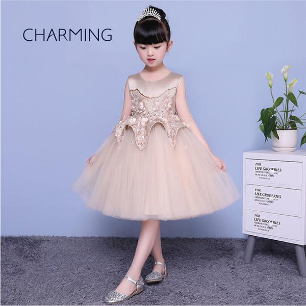 Compre Vestido Dorado Para Niñas Vestidos Formales Para Niñas Avanzados Vestidos Formales De La Temporada De Inauguración Vestidos Para Ceremonia De