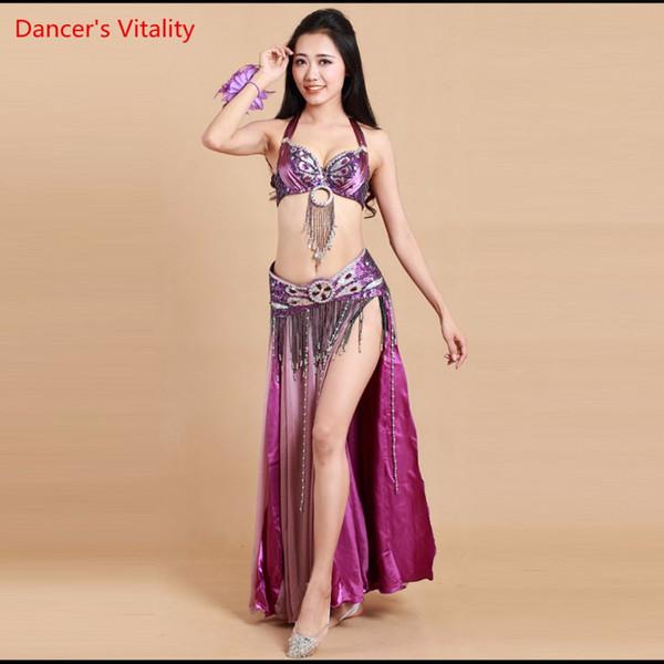 Il vestito di ballo di 3-piece vestito da ballerino indiano in rilievo orientale della prestazione dei vestiti di danza del ventre bianco viola libera il trasporto