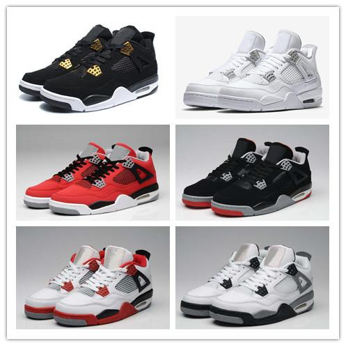 2018 Pure Money 4 Men Basketball Shoes 4s Bred Royalty White Cement Sports Motorsport Outdoor Mens Trainers Traderjoes Sport Shoe Sneakers