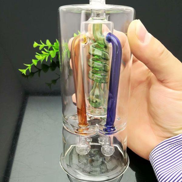 Pannello divisorio con filo multicolore colorato, bottiglia d'acqua silenziosa in vetro Tubo d'acqua con bong in vetro Chiodo smerigliatrice in titanio, Bubblers di vetro per fumatori P