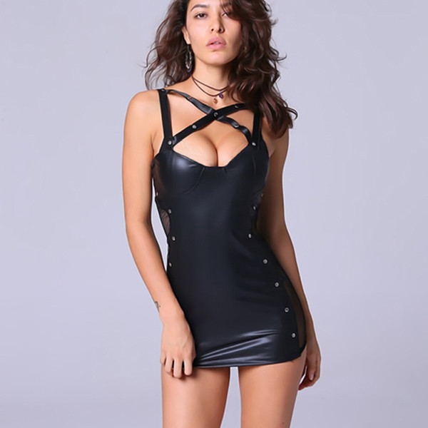 Women Sexy Mini Dress Erotic Faux Leather Female Latex Clothes Pole Dance Night Out Club Wear Dress Mesh Product Lady Costume Dress