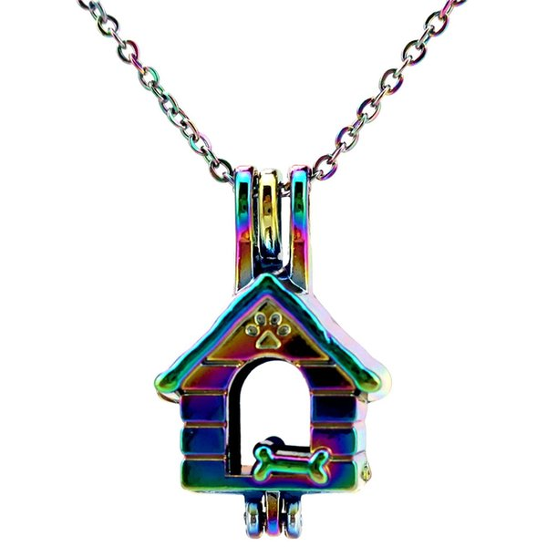 C645 COLORS Rainbow Color Lovely Dog House Bone Fun Stainless Steel Chain- Luck Gift Essential Oils Diffuser