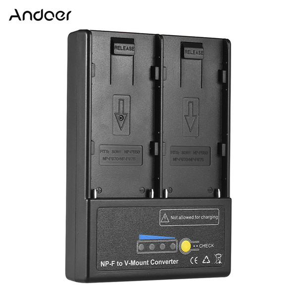 Andoer NP-F to V-mount Battery Converter Adapter Plate with Dual Slot for NP-F550 NP-F750 NP-F970 Series High Quality