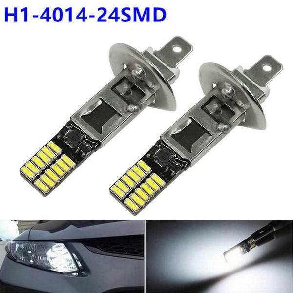 2X Haute Puissance 6500 K Blanc 24 SMD H1 LED Ampoules de Remplacement Pour Fog Lumière Voiture Conduite De Jour Conduite Lampe Véhicule Auto DRL