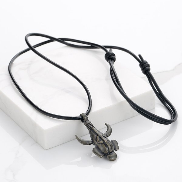 Supernatural Dean Amulet Necklace Steampunk Leather Rope Winchester Mask Double Sided Samulet 3D Pendant for Men Cosplay Jewelry