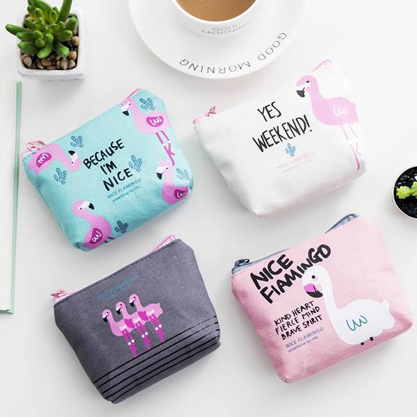 Popular Women Flamingo Pattern Coin Purse Zip Bag Child Girls Boys Mini Wallet Canvas Portable Handbag