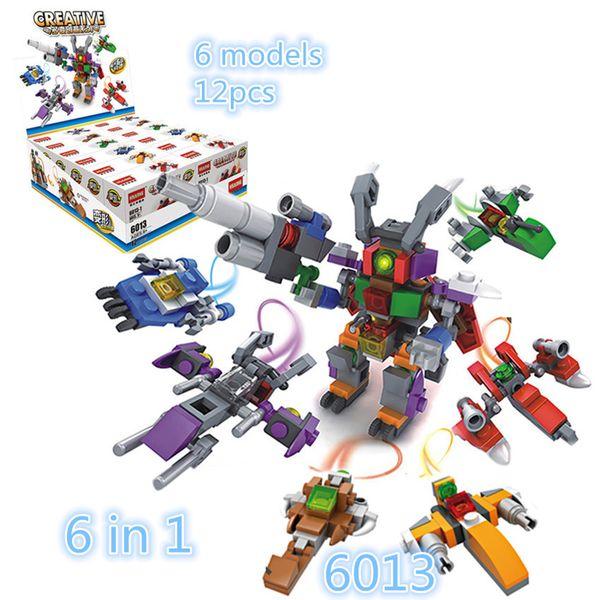 12pcs/lot Hsanhe Mini Blocks display box Series robot and plane 2 changes 6 in 1 Children educational Building Brick #6013