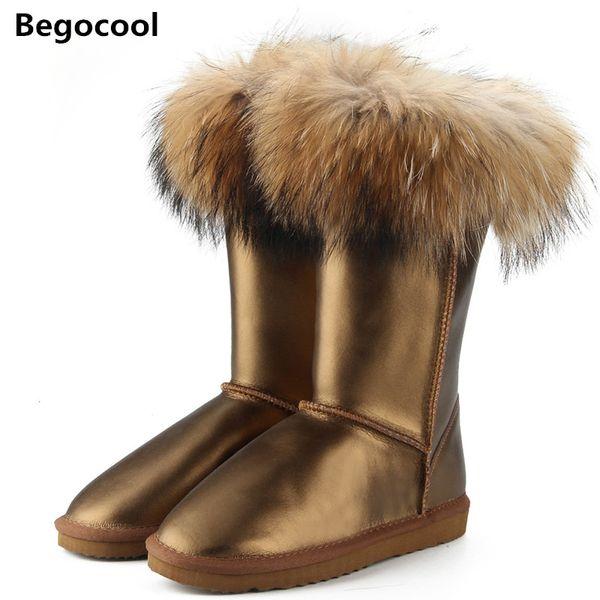 Nouveau mode d'expédition bottes femmes bottes hautes femmes bottes de neige 100% véritables chaussures d'hiver imperméables à l'eau en cuir de renard naturel