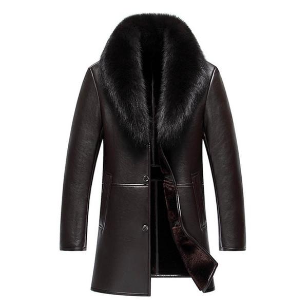 Haining мужская длинный лисий большой мех воротником кожаный лацкане высокого класса меха интегрированные случайные утолщение пальто s-4xl