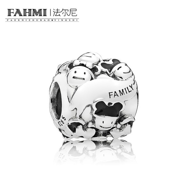 FAHMI 100% 925 Sterling Silver 1:1 Original Happy Family Charm Beaded Jewelry Women's Holiday Wedding Charming Gift
