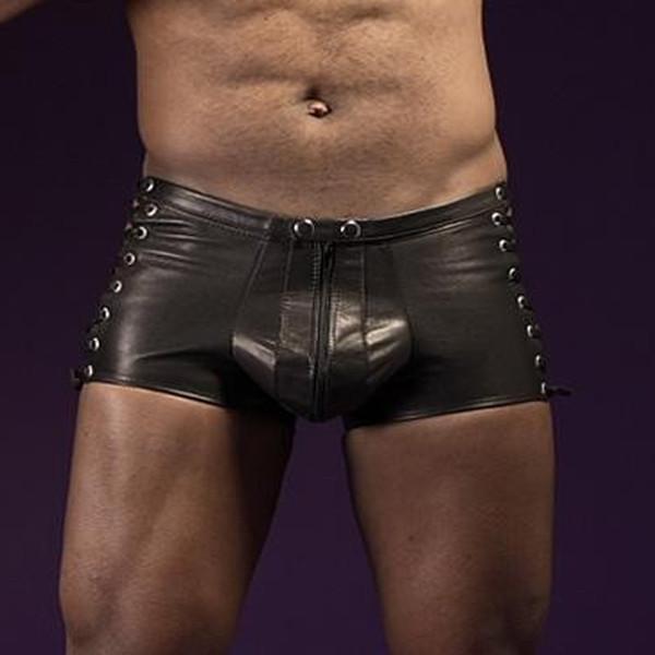 Faux Leather Hombres Ropa Exótica Hombres Boxers Shorts Lencería Transparente Lencería Pantalones Negros Super Sexy Wetlook Boxer