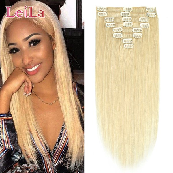 Brazilian Peruvian Indian Malaysian 100g Clip In Hair Extensions Hair Textures 10-28 Inch 8Pieces/lot Straight Hair 613#