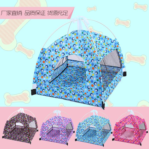 Portable Foldable Cute Dots Pet Tent Outdoor Indoor Tent For Kitten Cat  Small Dog Puppy Kennel