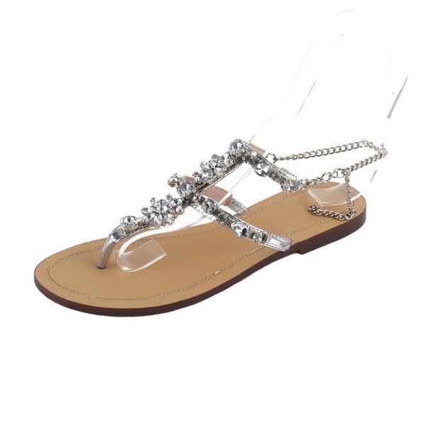 2018 New Sexy Mulheres Summer Sandálias de Praia Strass Chains Thong Gladiador Plana Flip Flop Sandálias Plus Size 34-47 Venda Quente