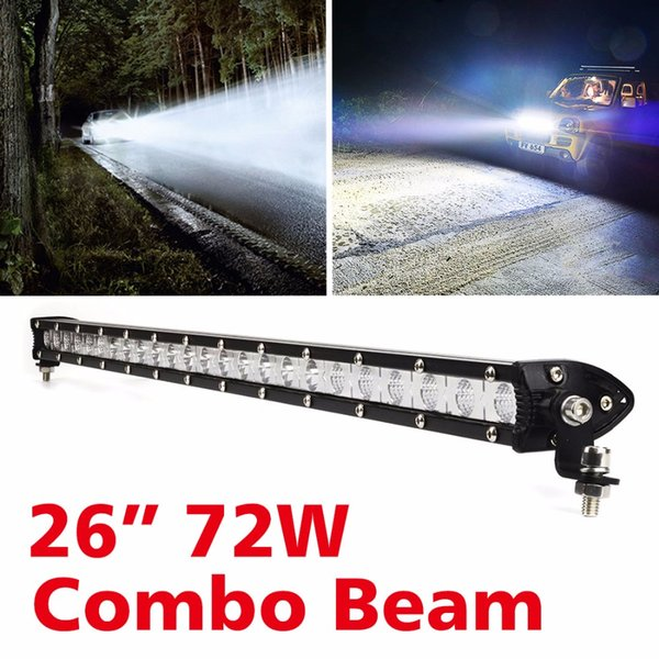 Safego 72W Simple LED Light Bar camion offroad 12V Voiture Led Lampe de Travail Off-road 4x4 SUV ATV Tracteur Combo phare barre 24V