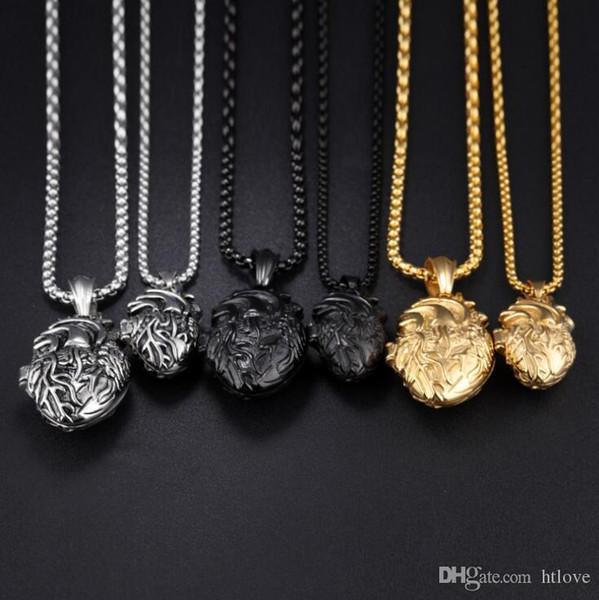 Collana con pendente cuore anatomico nero / oro / argento, in acciaio inossidabile da uomo stile medaglione