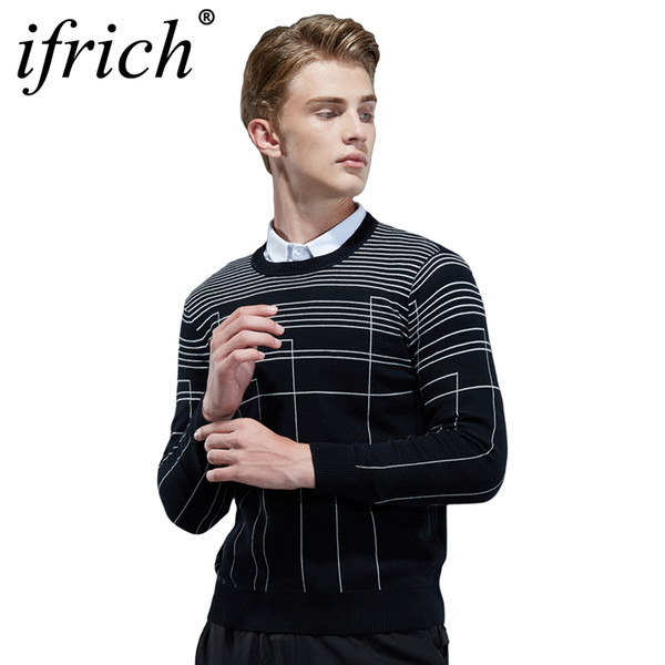 Wool Designer Sweater Men O-Neck Pullover Brand Clothing 2018 Autumn Winter New Arrival Cashmere Men's Casual Striped Pull Men