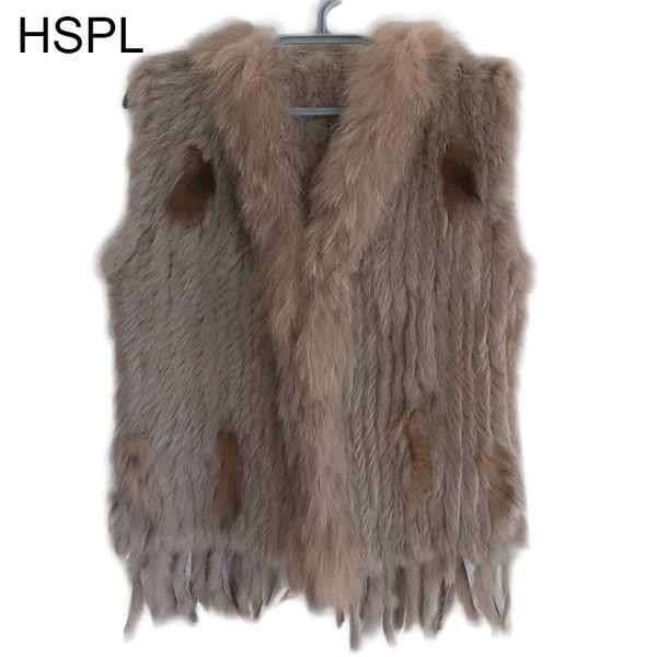 HSPL Sleeveless Women Fashion Fur Vest Knit Waistcoat For Lady For 2018 Spring Real Rabbit Fur Female Vests Black Waistcoat