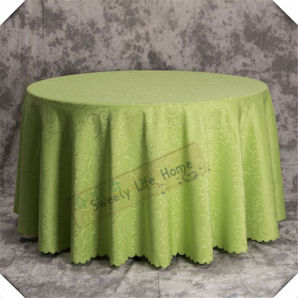 """120"""" Apple Green Damask tablecloths Hook Flower Multicolor Jacquard Hotel Furniture table Covers tablecloths Round Party wedding decorations"""