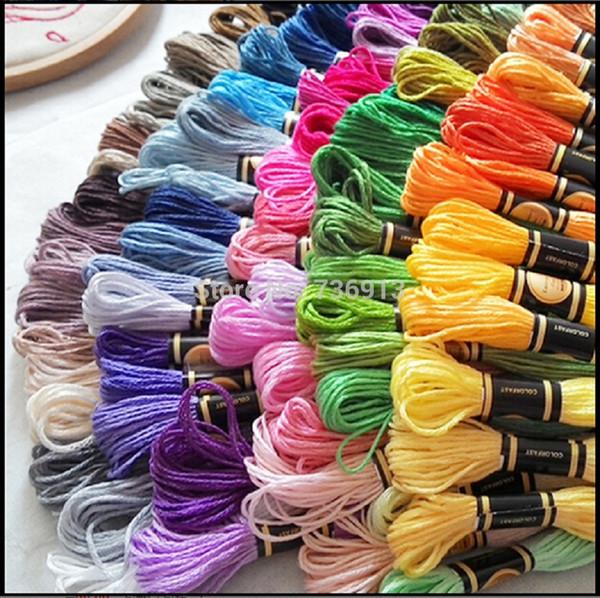 Envío rápido 50 unids colores de la mezcla hilo de hilo de seda del bordado