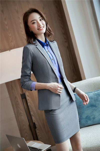 Gray skirt suit