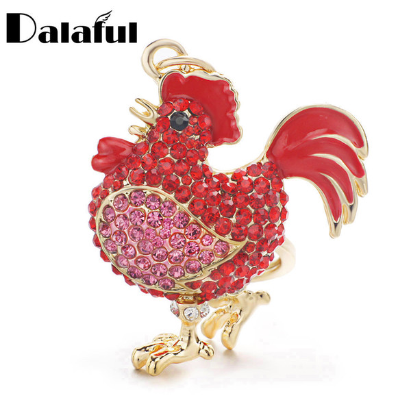 New Fashion Cock Luxury Rooster Chicken Keychains Crystal Trinket Key ring chains Holder Metal Animal Keyrings K302