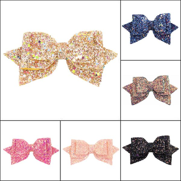 5 inches Sequin Hair clips Barrettes baby Girls Swallowtail Cute Hairpins Kids Hair Accessories 6 colors Bow Barrettes