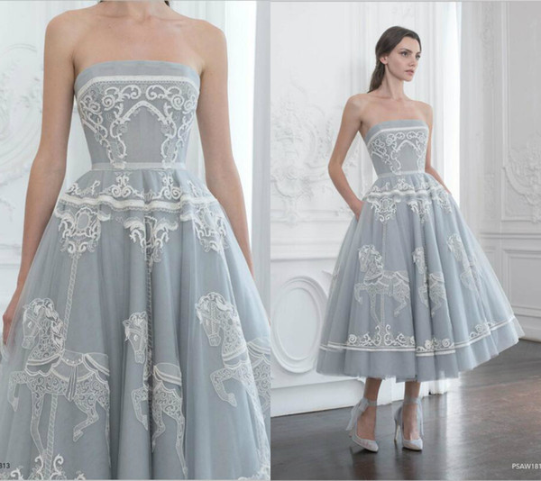 Strapless Polo Sebastian Dresses Embroidery Pattern Ruffle Tea Length Evening Dresses A Line Sleeveless Sweet 16 Quinceanera Dress