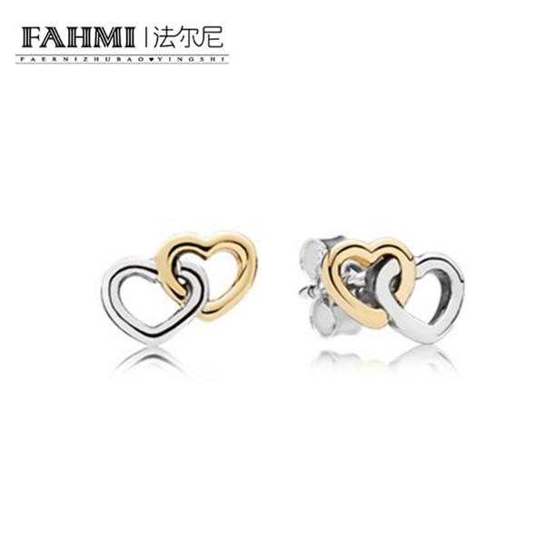 Orecchini pendenti cuore a cuore in argento sterling WOPPY 925 - Orecchini pendenti con pendenti in argento 925