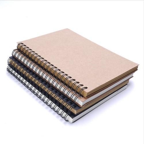 Retro Spiral Coil Sketchbook Kraft Paper Notebook Sketch Painting Diary Travel Journal Student Note Pad Book Memo Sketch pad School Supplie
