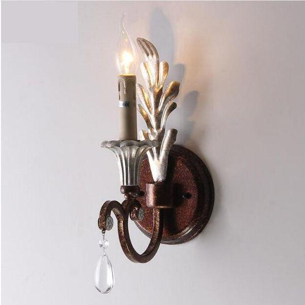 SVITZ Vintage European Iron Candle Lamps Single Head Lamp Balcony Bedroom Bedside Lamp Light Corridors Wall Lights led