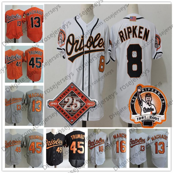 Baltimore #8 Cal Ripken 2001 White Vintage Jersey Retirement USA Flag 13 Manny Machado 16 Trey Mancini 45 Mark Trumbo Gray Orange Black