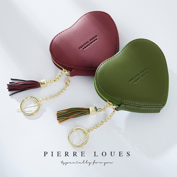 New PU Leather Women's Coin Purse Cute Cartoon Heart Shape Keyring Change Purses Gift Wallet with Tassel , 4.3 * 4 Inches Size