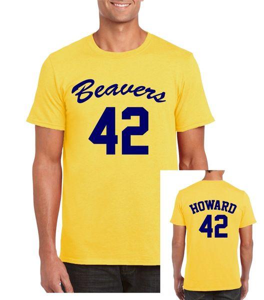 Beavers 42 baloncesto para hombre / adulto camiseta amarillo retro lobo adolescente Scott Howard 80s divertido envío gratis Unisex Casual camiseta de regalo