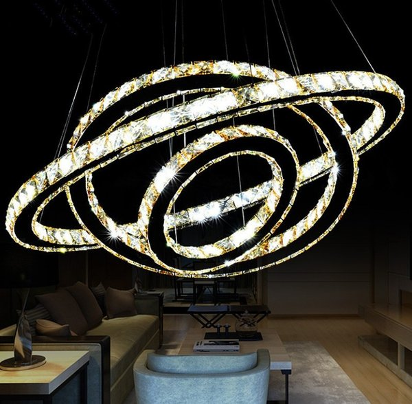 Hot Selling Hot sale Crystal Diamond Ring LED Crystal Chandelier Light Modern Crystal Pendant Lamp 3 Circles different size position LLFA