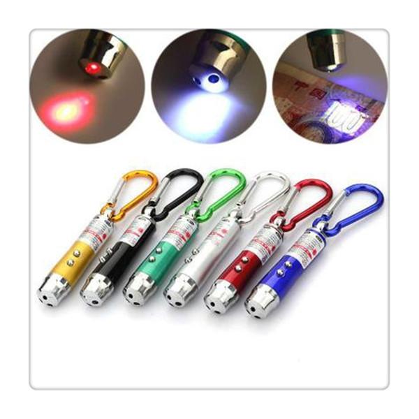 Linternas de llavero para exteriores Linterna con luz LED Láser Linterna 3 en 1 Luz LED roja Lápiz láser para LED Puntero Luz de flash Antorcha Linterna Emergencia