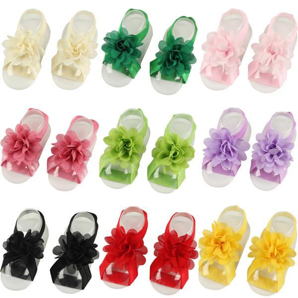Baby girl Sandálias Flor Sapatos Com Os Pés Descalços Flor Laços Menina Infantil Crianças Primeiros Walker Sapatos Dobras Chiffon Flor Fotografia Adereços KFA10