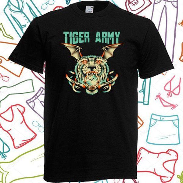 New TIGER ARMY Punk Rock Band Logo T-shirt nera da uomo Taglia S M L XL 2XL 3XL