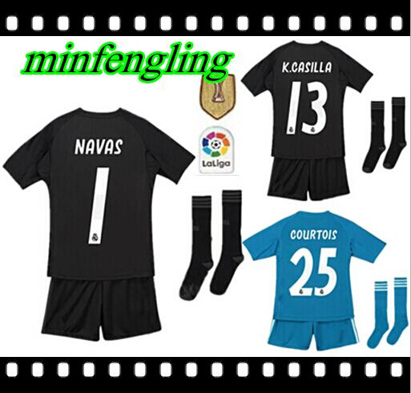 88dedc054d7 Best quality 18 19 Real Madrid Kid's Goalkeeper Soccer Jerseys Shorts  COURTOIS CASILLA NAVAS Football Sets