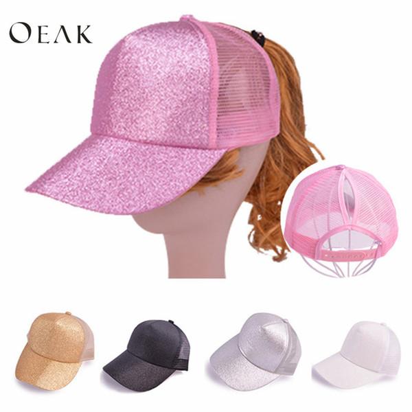 193da850 Oeak New Ponytail Baseball Cap Women Girls Messy Bun Baseball Hat Glitter  Mesh Breathable Adjustable Caps