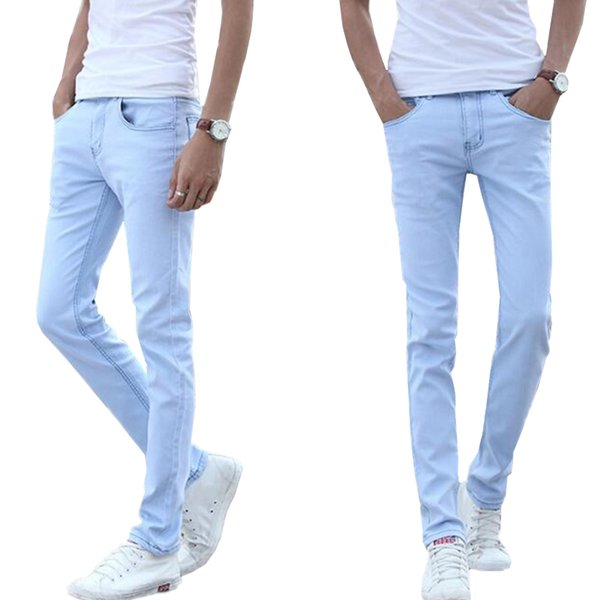 8317567f 2018 Small stretch light blue cotton men's jeans 28 29 30 31 32 33 34 36  Sky blue man jeans trousers Slim soft and comfortable