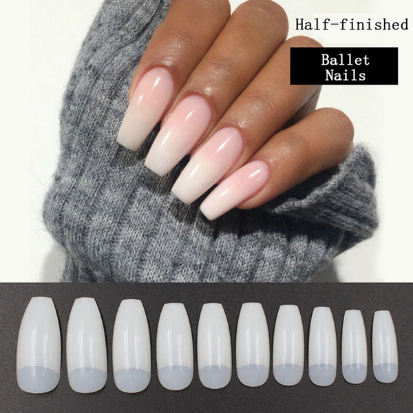 top popular 500 Pieces Ballet False Nails Half Natural Long Nail Art Tips Coffin Quality ABS DIY Manicure Product 2021