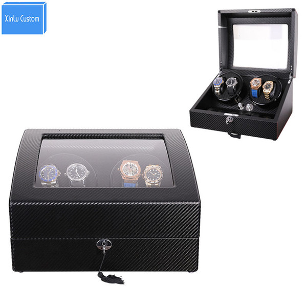 best selling Luxury Storage&Display Automatic Watch Winder Box Accessories Japan Mabuchi Motor Box 2019 New Gift Case Design Black Carbon Fiber Leather
