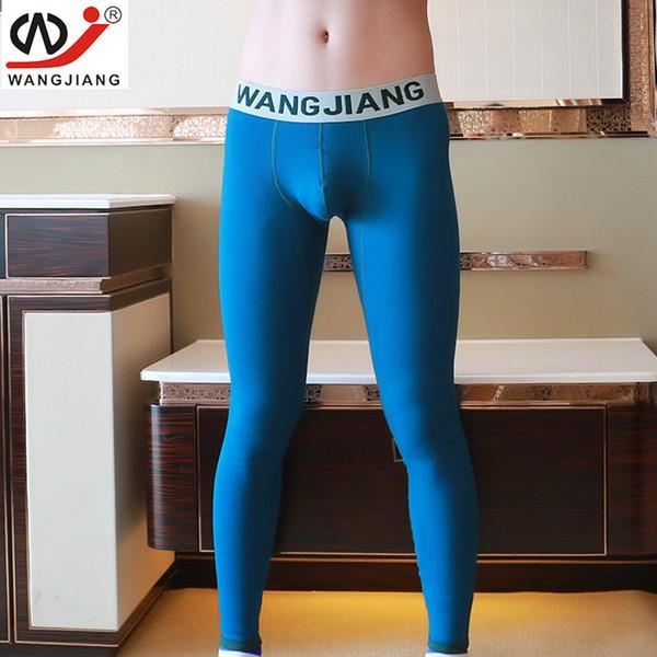 Gli uomini di marca long johns mens caldi pantaloni linea elastica di biancheria intima di cotone moda maschile sexy legging stretto Johns più velluto