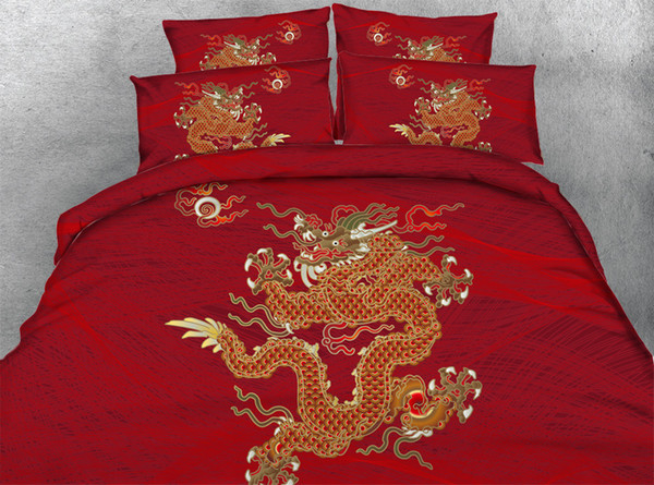 3D Chinatown dragon bedding sets queen christmas duvet cover single twin king cal king size bedspreads traditional Chinese style bedlinens