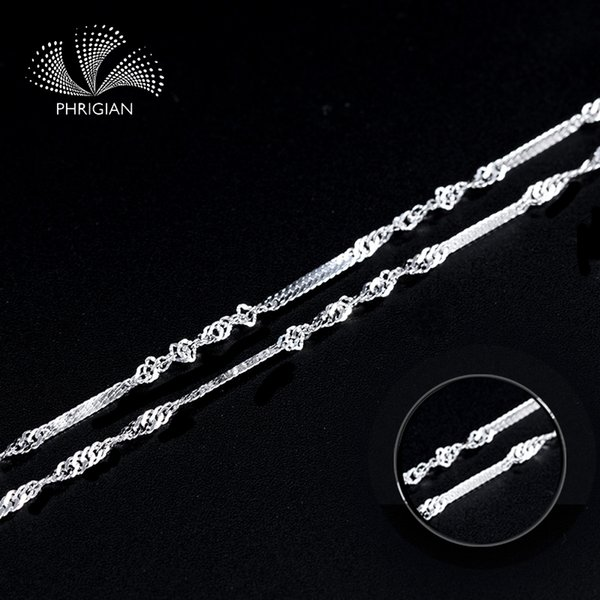 Certified Jewelry 100% S925 Sterling Silver Genuine chain accessory women 16 18inch jewelry finding novelty