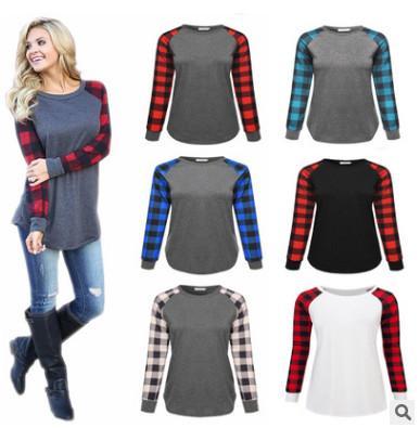 S-5XL Plus Size Plaid Panel Raglan Long Sleeve T-shirt Women Ladies Spring Autumn Winter Patchwork Sweatshirt Casual Blouse Shirt Top Tees