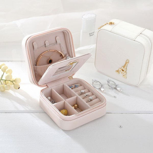 Mini Travel Jewelry Organizer Box Cosmetic Makeup Organizer Jewelry Packaging Earring Storage Casket Container Gift Bag for Girl