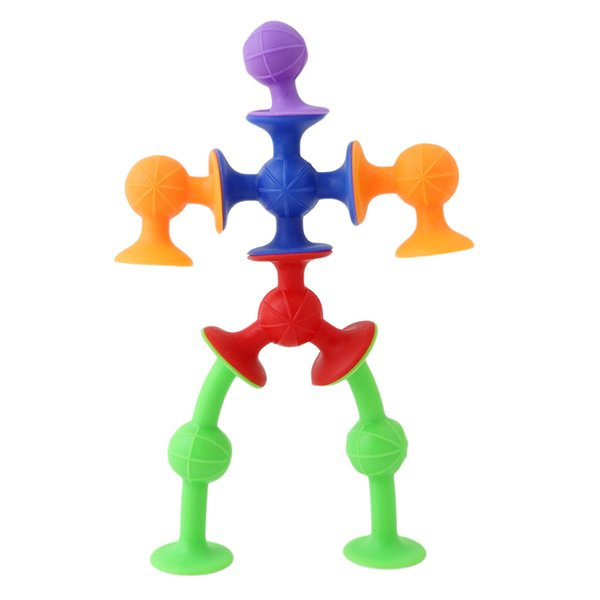 best selling DIY Silicone Building Blocks Assembled Sucker Suction Cup Funny Construction Toys Children Educational Bricks Gift Toys CX601817