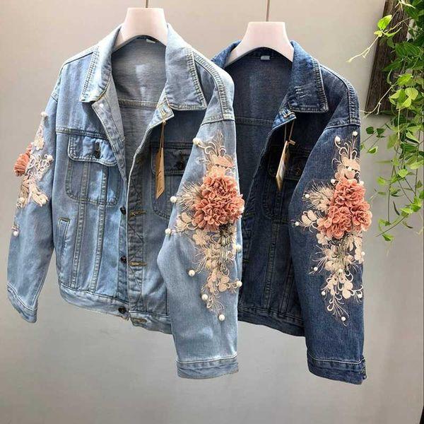 2018 Yeni sonbahar 3D Çiçek Denim Ceket Kadın Moda Nakış Kovboy Jean Ceketler Kadın Kısa Denim Ceket Kızlar Dış Giyim